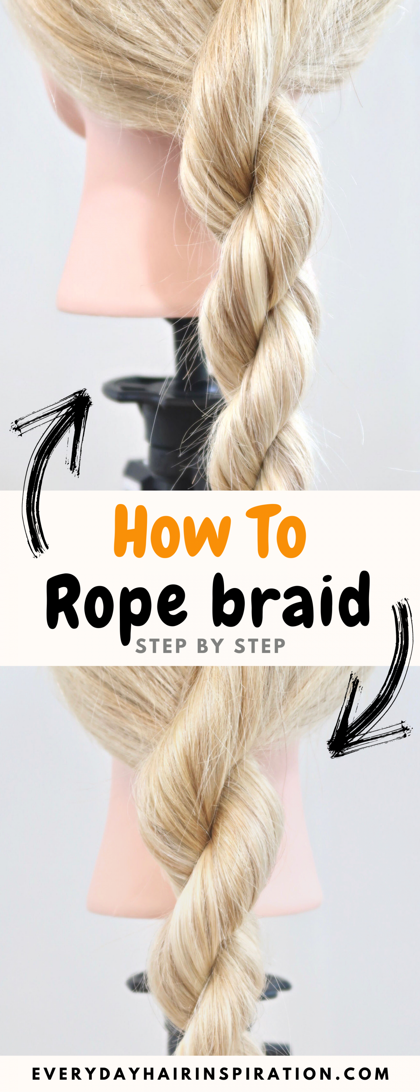"""Pictures of 2 rope braids with text overlay saying """"How to rope braid step by step"""" with 2 arrows pointing to the braid"""