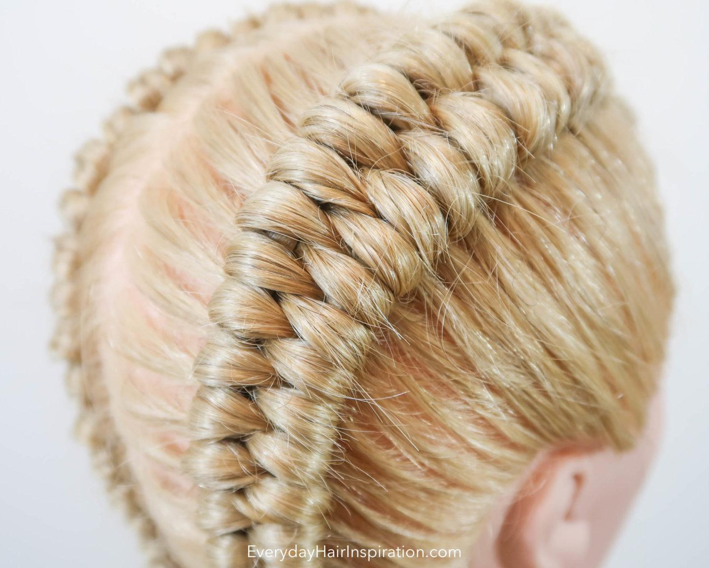 Closeup of a dutch infinity braid in blonde hair