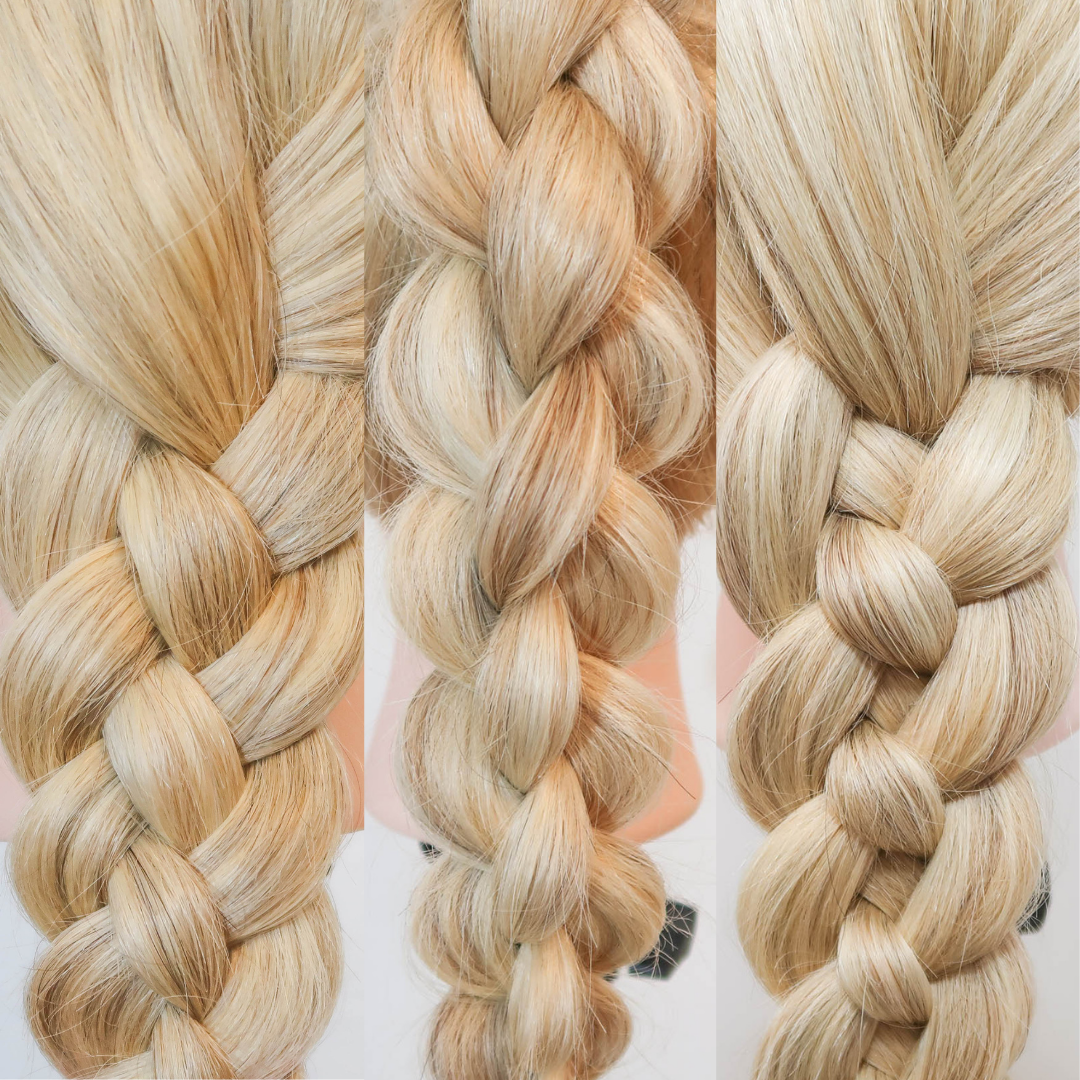 Collage with 3 pictures. Left: a flat four strand braid in blonde hair. Middle: A 4 strand round braid in blonde hair. Right: A basic 4 strand braid in blonde hair. All pictures are closeups.