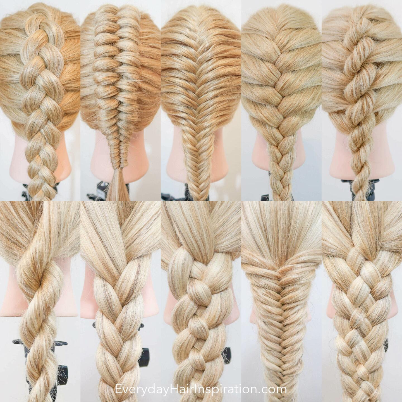 10 small pictures in 1 with a Dutch Braid, a dutch infinity braid, a French fishtail braid, a French braid, a French rope braid, a rope braid, a 3 strand braid, a 4 strand braid, a fishtail braid and a 5 strand braid.
