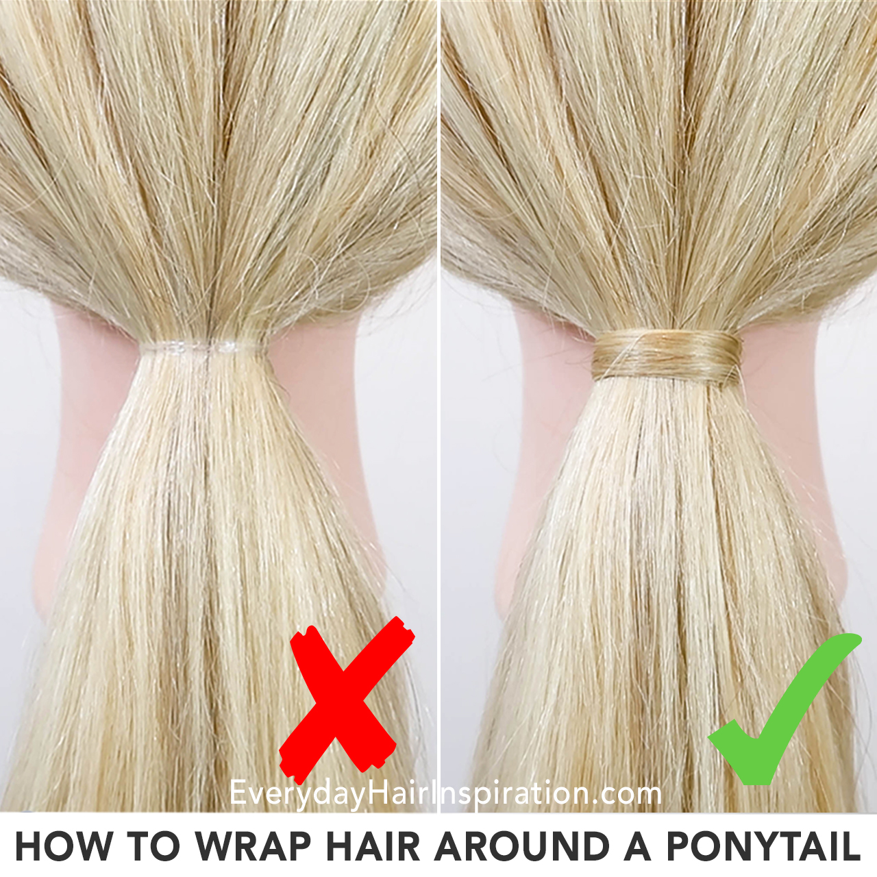 "2 hairdresser dolls with ponytails, one has hair wrapped around the elastic to cover it. Text at the bottom of the picture ""How to wrap hair around a ponytail""."