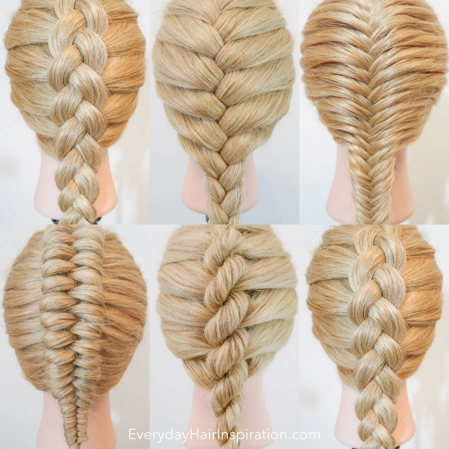 6 braids on a blonde hairdresser doll lined up next to each other in 2 rows. The braids are a Dutch Braid, a French braid, a French fishtail braid, a dutch infinity braid, a French rope braid and a Dutch Braid.