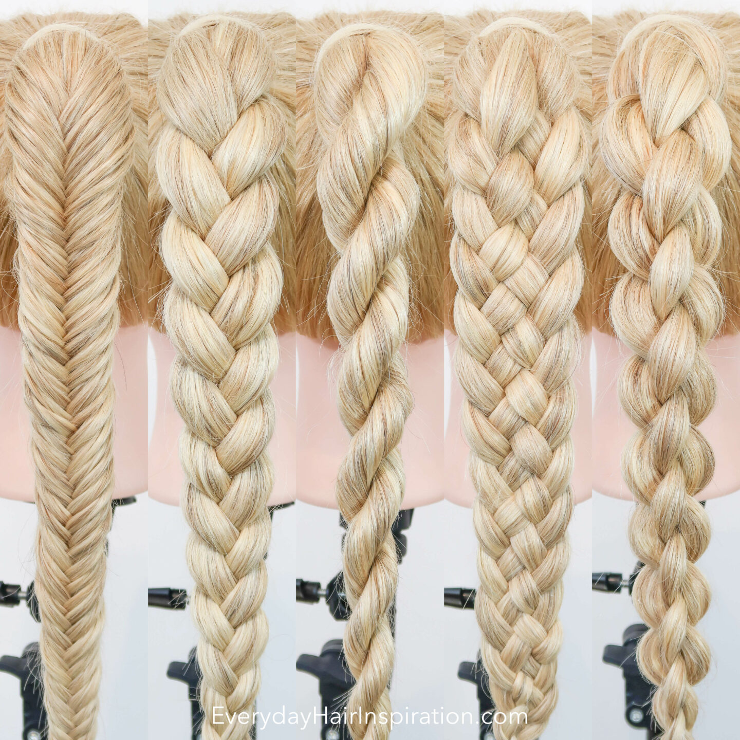 5 Braids in a high ponytail, shown from the back on a blonde hairdresser doll. From left to right: fishtail braid, 3 strand braid, rope braid, 5 strand braid and a 4 strand round braid.