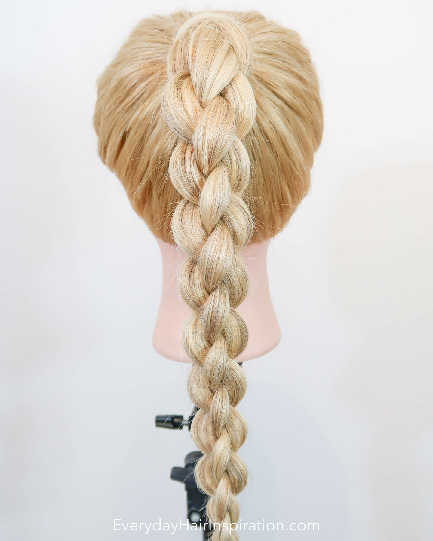 Blonde hairdresser doll seen from the back with a high ponytail with a 4 strand round braid, braided in the hair.