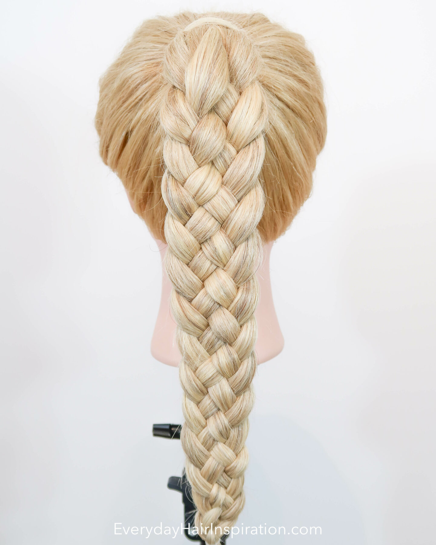 Blonde hairdresser doll seen from the back with a high ponytail with a 5 strand braid, braided in the hair.