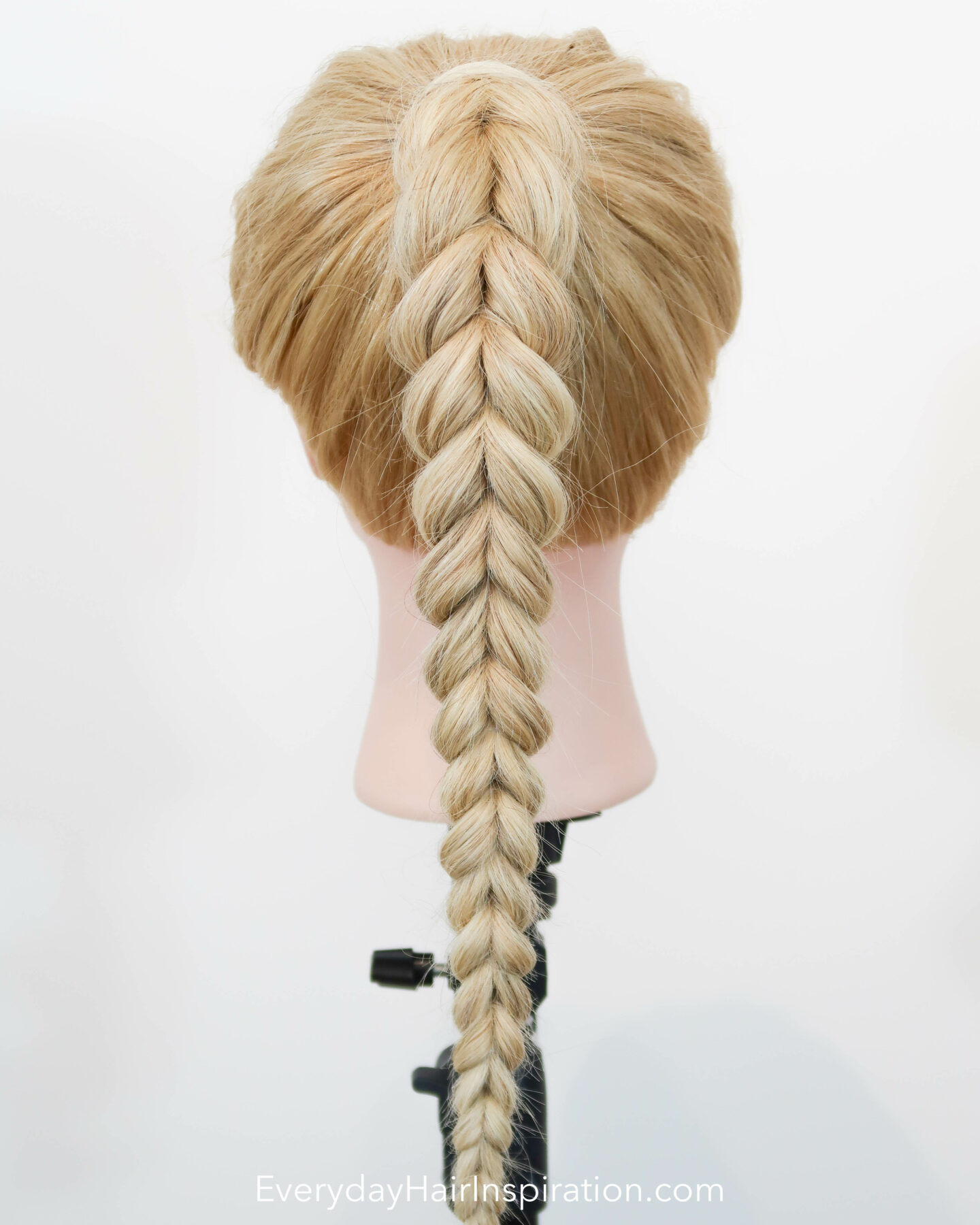 Blonde hairdresser doll seen from the back with a pull through braid in a high ponytail.