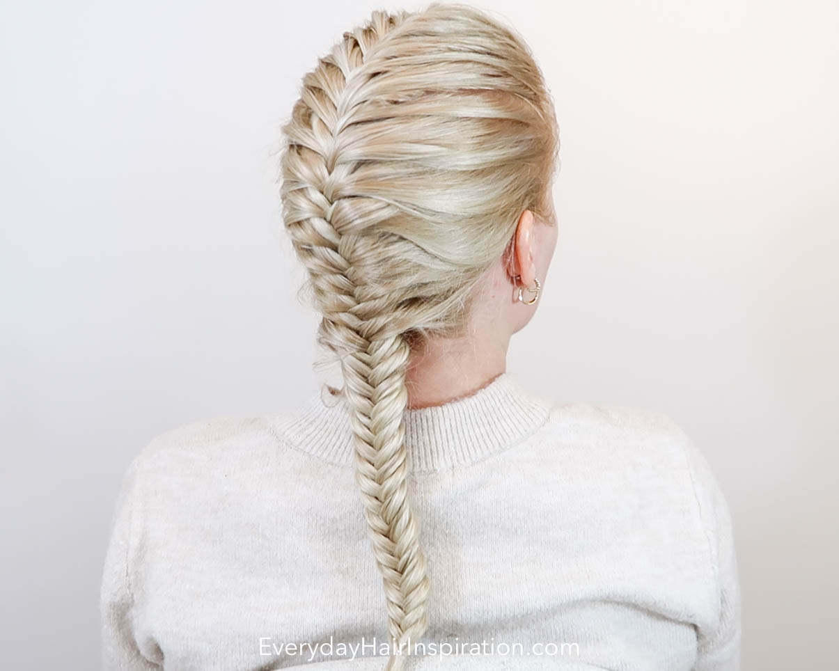 Single French fishtail braid seen from the side