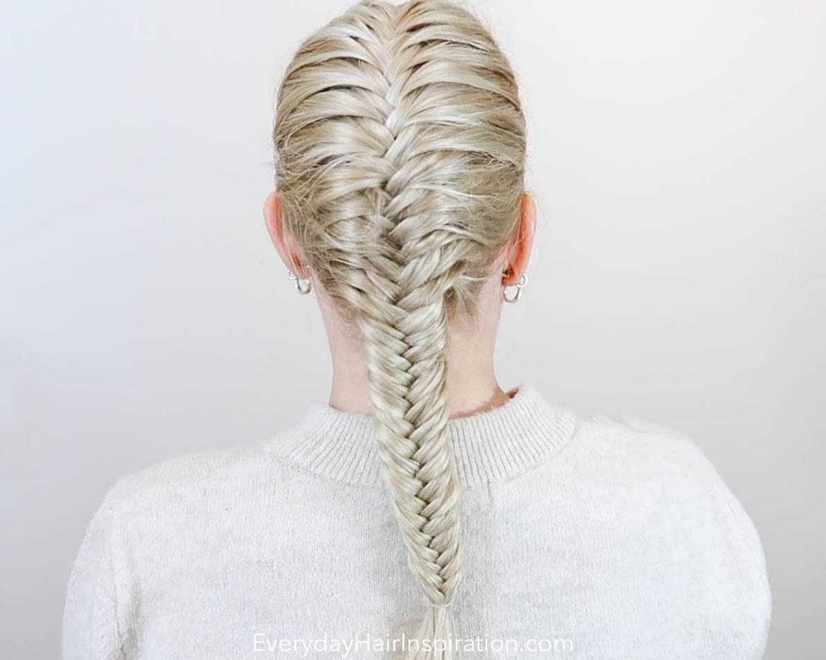 Single French fishtail braid seen from the back