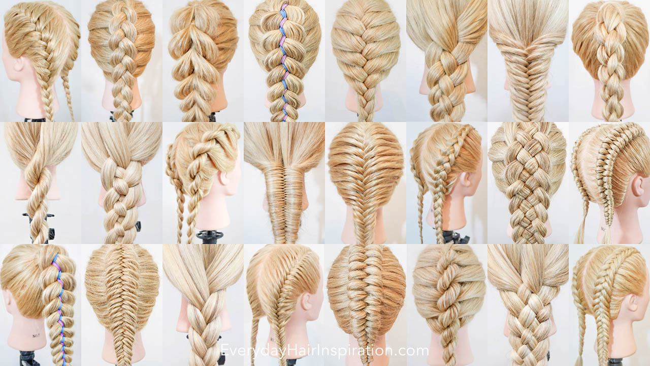 Collage with 24 pictures of different braids. from right to left, 1 row: Double french braid, Dutch Braid, pull through braid, dutch ribbon braid, French braid, 4 strand flat braid, fishtail braid, 4 strand round braid. Row 2: rope braid, 4 strand braid, double French rope braid, infinity braid, French fishtail braid, double dutch braid, dutch 5 strand braid, double dutch infinity braid. Row 3: Ribbon braid, dutch fishtail braid, 3 strand braid, double French fishtail braid, dutch infinity braid, French rope braid, 5 strand braid, double dutch fishtail braid.