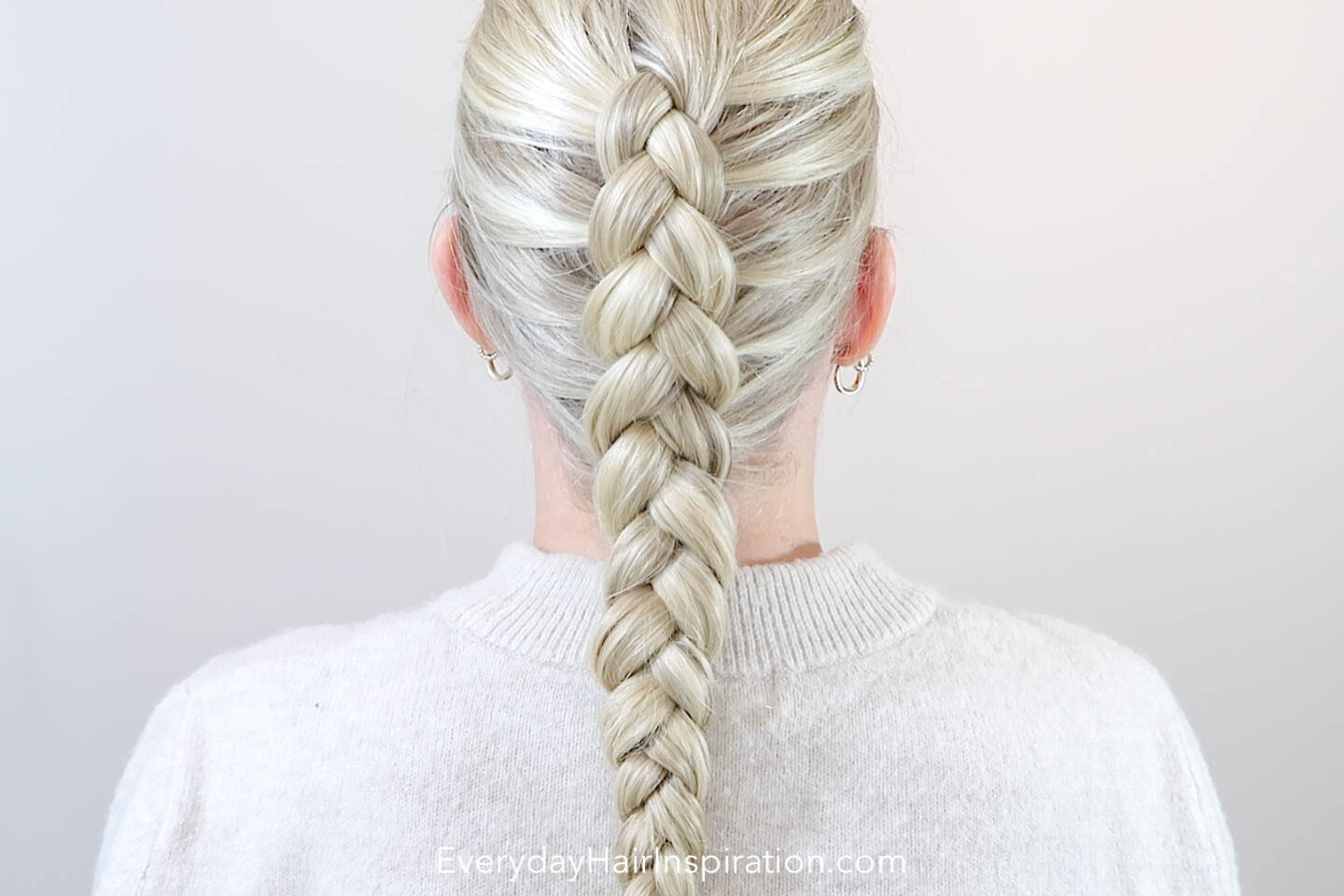 Blonde girl seen from the back with a dutch braid in her hair.