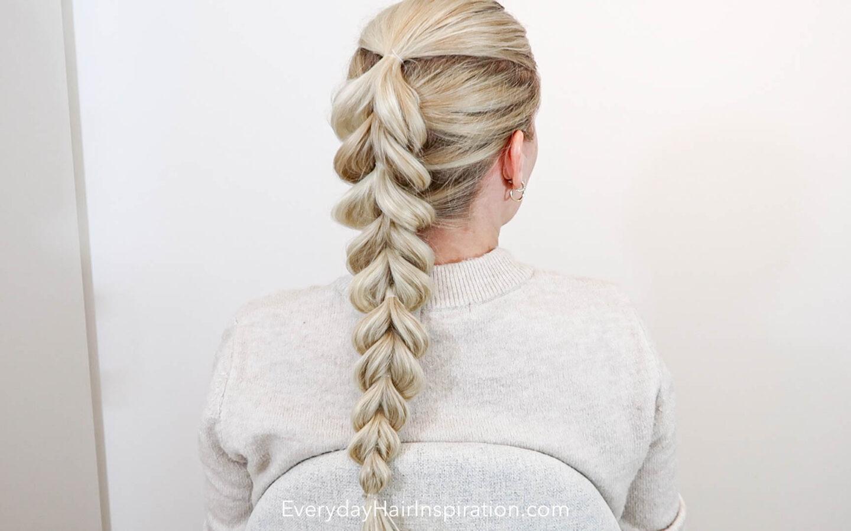 Pull through braid on a blonde girl